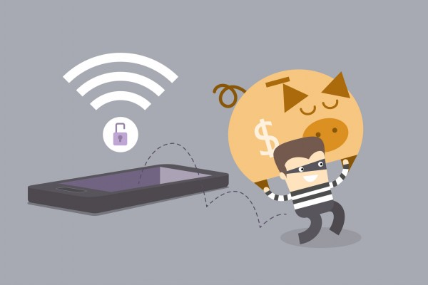 mobile phone crime concept of thief stealing money when mobile phone is on insecure network